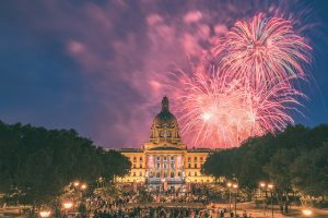 Canada day at the Legislature building with fireworks