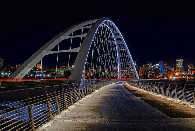 Walterdale Bridge at night in Walterdale Ontario