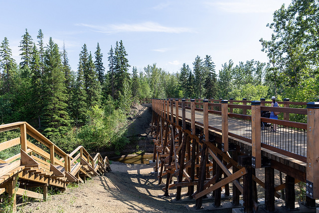 Wooden Bridge at Mill Creek Ravine in Ritchie Edmonton