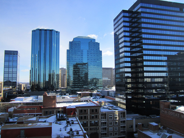 Office buildings in core downtown Edmonton