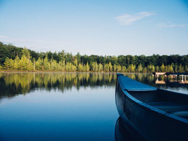 Canoe next to Lake Summerside in Edmonton