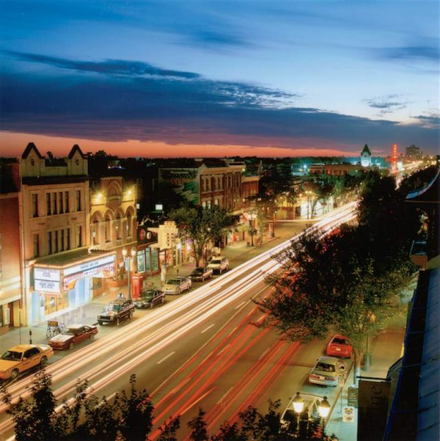 Whyte Avenue at night in Edmonton